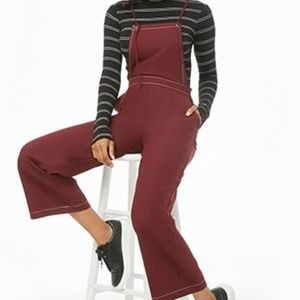 F21 Burgundy Overall Jumpsuit